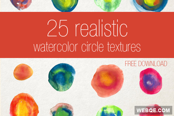 25 Watercolor circle textures in JPG and PNG free download