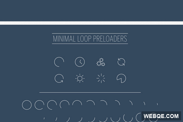 8 Minimal loop loading animations in GIF, PSD, AI and EPS