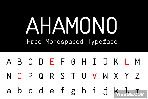 Ahamono - A free rounded and fixed width monospaced typeface