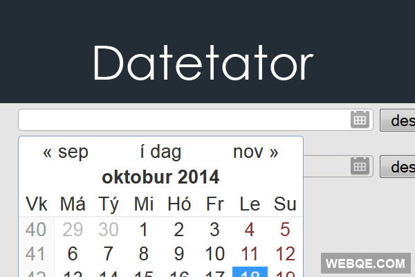 Datetator - Turn input boxes into datepicker with jQuery