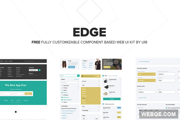 Edge UI Kit - A huge, free and trendy vector UI Kit in PSD