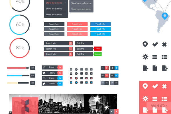 Featherweight Ui A Flat Rounded Vector Ui Kit Free Download