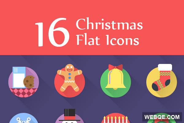 Free colorful circle Christmas vector icon set (16 icons)