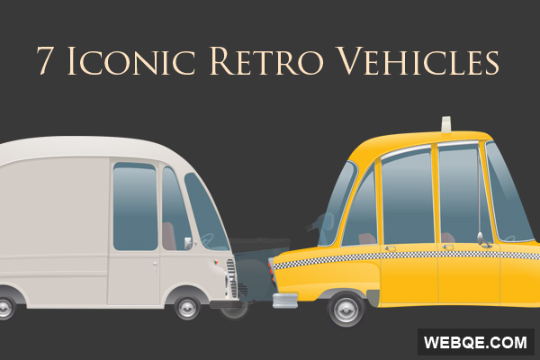 Free cute iconic retro vehicles vector icon set (7 icons)