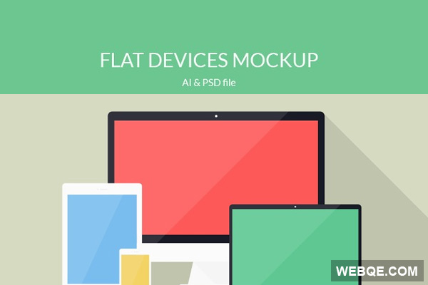 Free flat devices iMac, iPad, iPhone, Macbook vector mockup
