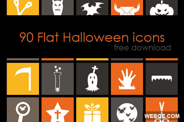 Free Flat Halloween vector icon set in AI and PNG (90 icons)