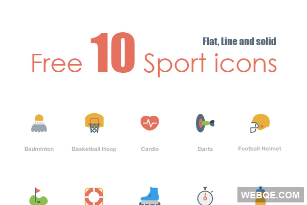 Free flat, line and solid sport vector icon set (10 icons)