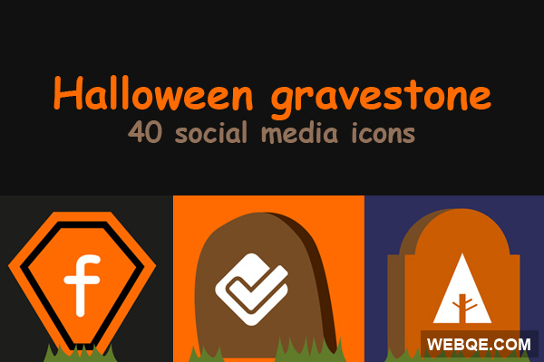 Free Halloween gravestone social media icon set (40 icons)