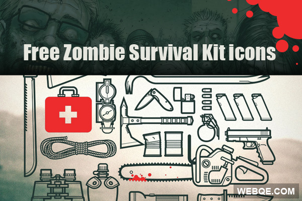 Free zombie survival kit vector icon set (22 icons)