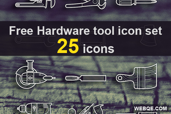 Hardware tools vector icon set in AI, PSD and PNG free download (25 icons)