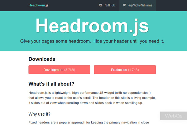 Headroomjs A Javascript Widget Scroll To Hide And Show Header Bar