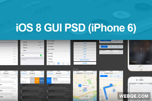 iPhone 6 iOS 8 GUI full vector in layered PSD free download