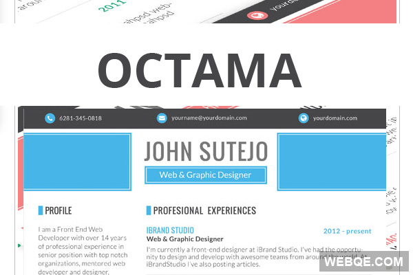Octama - Free single page resume template in PSD A4 size