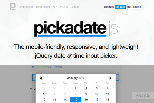 Pickadatejs A Mobile Like Datetime Picker Jquery Plugin